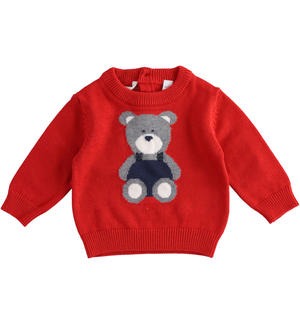 Tricot sweater with teddy bear RED