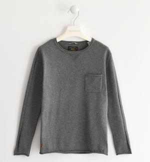 Sweater made of cotton tricot with pocket GREY