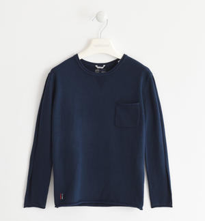 Sweater made of cotton tricot with pocket BLUE