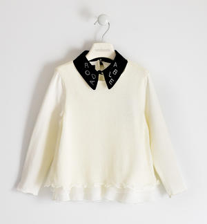 Tricot and jersey sweater with detachable collar and tulle flounce