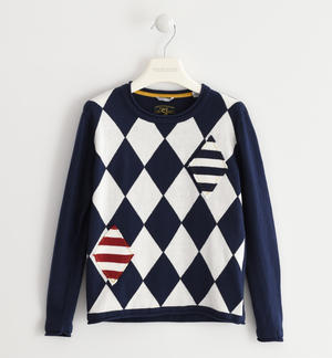 Crew neck sweater made of tricot with a geometric pattern BLUE