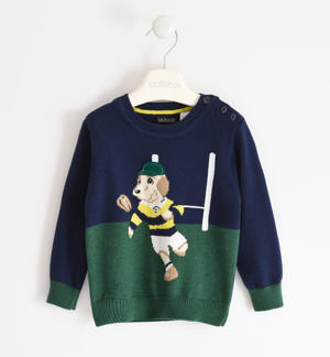 Two-tone winter tricot sweater BLUE
