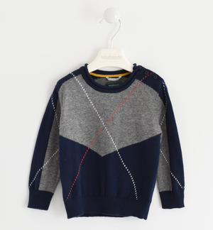 Sweater made in winter tricot and geometric processing BLUE