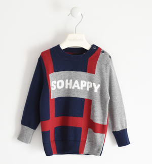 "Round neck sweater with ""So happy"" lettering"