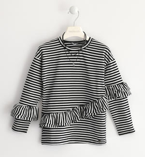 Sweater made with a striped pattern in lurex jersey fabric BLACK