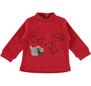 100% warm cotton t-shirt with cute puppies  RED
