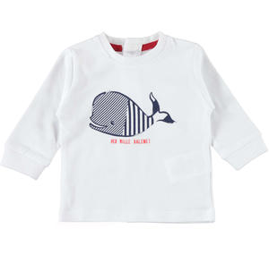 100% cotton long sleeve t-shirt for baby boy WHITE