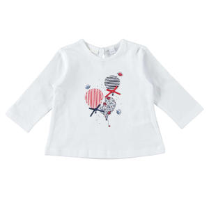 100% cotton long sleeve t-shirt for baby girl with applications WHITE