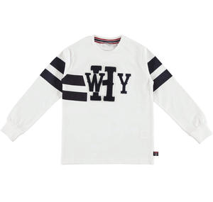 Long-sleeved 100% cotton t-shirt with a print and patches  WHITE