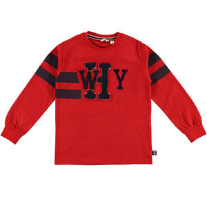 Long-sleeved 100% cotton t-shirt with a print and patches  RED