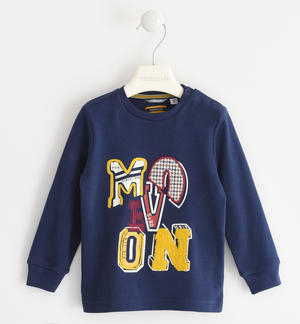 Crewneck sweater in 100% cotton interlock with college style graphic BLUE