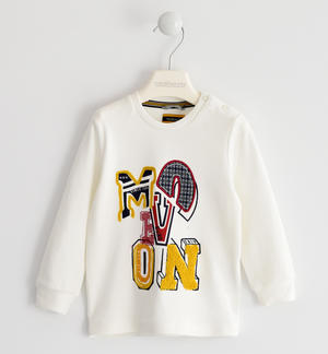 Crewneck sweater in 100% cotton interlock with college style graphic CREAM