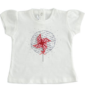 100% cotton short sleeve t-shirt for baby girl with pinwheel