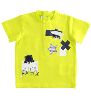 Newborn short-sleeved cotton t-shirt lime colour GREEN