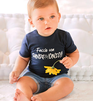 Newborn short-sleeved cotton t-shirt with Vichy details BLUE
