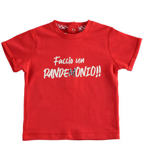 Newborn short-sleeved cotton t-shirt with Vichy details RED
