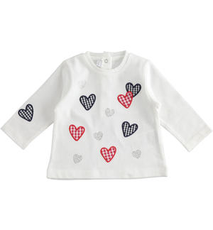 Long-sleeved 100% cotton t-shirt for baby girl with Vichy heart print WHITE