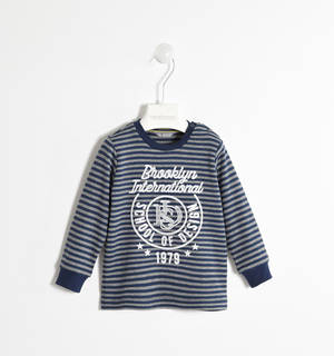 100% cotton striped long-sleeved sweater with embossed print  BLUE