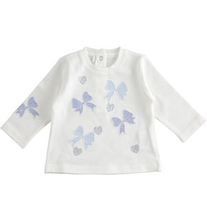 100% cotton long sleeves t-shirt for newborn girl WHITE