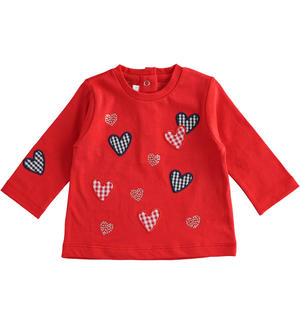 100% cotton long sleeves t-shirt for newborn girl RED