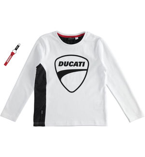 """Sarabanda interprets Ducati"" 100% interlock long sleeve t-shirt WHITE"