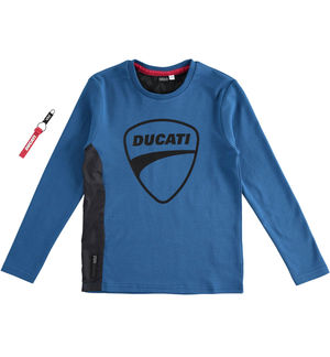 """Sarabanda interprets Ducati"" 100% interlock long sleeve t-shirt BLUE"