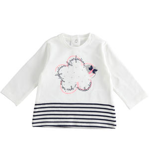 Long-sleeved cotton t-shirt for baby girl with glitter heart WHITE