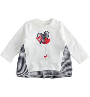 Long-sleeved cotton T-shirt for baby girl with Vichy details WHITE