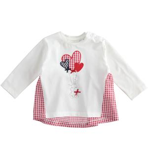 Long-sleeved cotton T-shirt for baby girl with Vichy details RED
