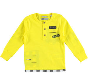 100% cotton t-shirt with grandad collar and modern rips for boys YELLOW