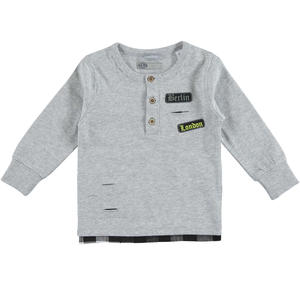 100% cotton t-shirt with grandad collar and modern rips for boys GREY