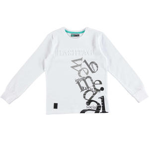 Stretch cotton t-shirt with round neck for boys WHITE
