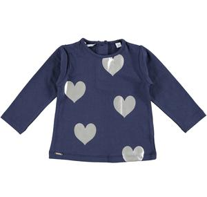 T-shirt with laminated hearts  BLUE