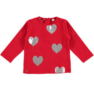 T-shirt with laminated hearts  RED