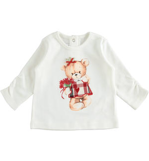 100% cotton t-shirt with bear CREAM