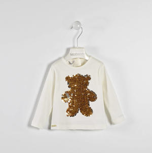 T-shirt with reversible sequined bear  CREAM