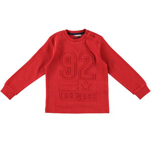 Sweater with a refined embossed print  RED