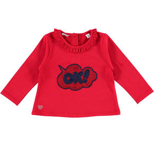 T-shirt with ruffles and sequins RED