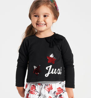 T-shirt with stars in reversible sequins and tulle bow BLACK