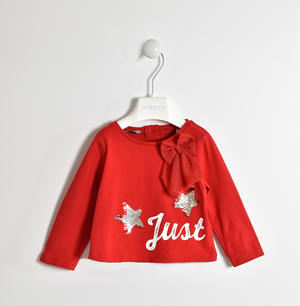 T-shirt with stars in reversible sequins and tulle bow RED