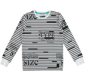 Cotton t-shirt with a horizontal stripes and writing pattern WHITE