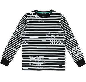 Cotton t-shirt with a horizontal stripes and writing pattern BLACK