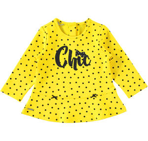 Shirt with little dots and glitter wording YELLOW