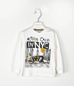 100% cotton round neck sweater with an urban print  CREAM