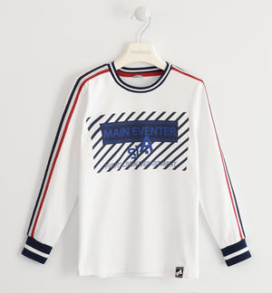 100% cotton crew-neck shirt with striped band on the sleeve WHITE
