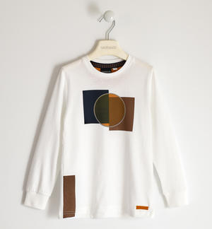 100% cotton round neck t-shirt with geometric shapes