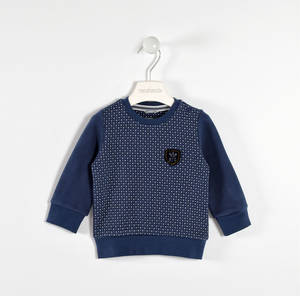 100% cotton round neck sweater with a contrasting micro-print BLUE