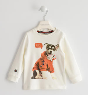 100% cotton round-neck shirt with cute puppy CREAM