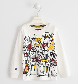 Crew neck t-shirt in 100% cotton interlock with two nice prints CREAM