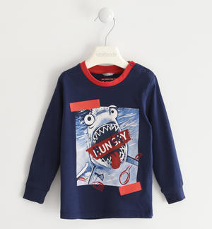 100% cotton crew neck T-shirt with hungry shark BLUE